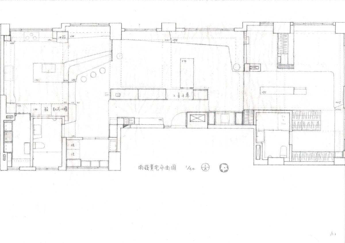 南崁暖心手作宅平面圖,手繪稿,東西向貫通,彰顯原建築特性