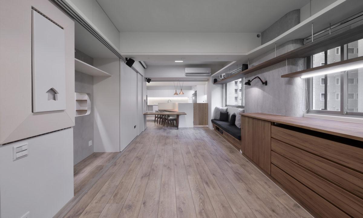 多功能使用, 彈性大空間, 移動式餐桌, 控制動線