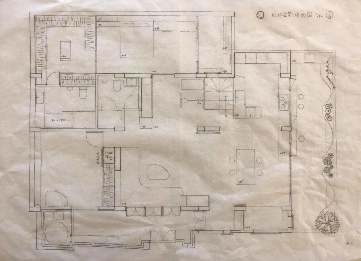 山之圓舞曲平面圖 15年來平面、立面、施工圖到細部大樣,我都是全手繪,手繪與電腦繪圖只是使用工具的不同,一樣精準,一樣美觀,但它可以呈現我思考的過程,改圖迅速,只要有一支筆,一方桌,隨時可工作