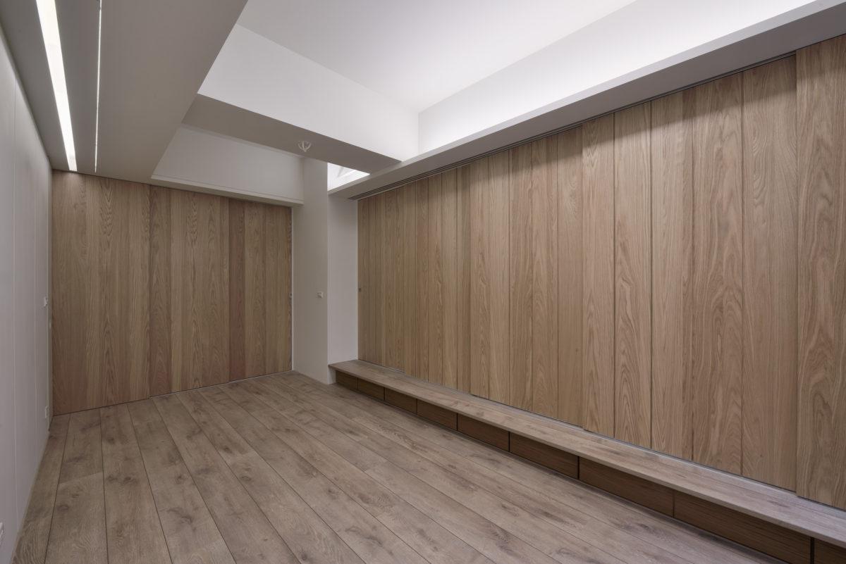 臥室區,橫拉門全關,隱私區分,平台下收納抽屜