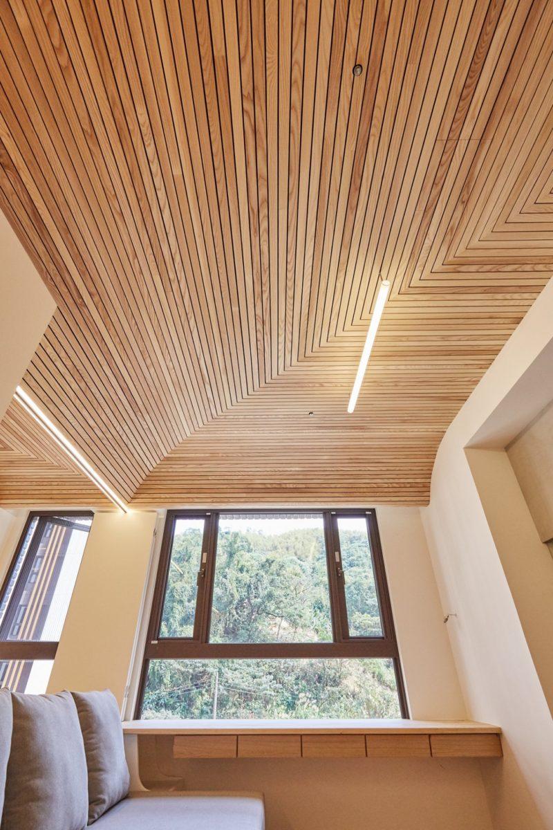 客廳,森林小屋,栓木實木格柵天花